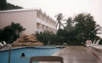 Swimming pool in the rain picture